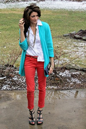 turquoise blue thrifted sweater - white banana republic shirt - carrot orange H&