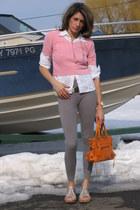 heather gray leggings - pink thrifted vintage shirt - white banana republic shir