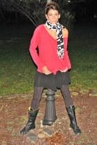 red Diesel sweater - black skirt - black leggings