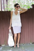 ivory sheer shirt - periwinkle French Connection skirt - leopard print thrifted