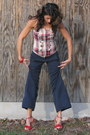 Red-plaid-top-navy-dkny-pants-red-miss-sixty-shoes