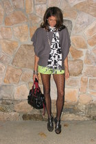 gray BCBG sweater - chartreuse Forever 21 shorts - white banana republic necklac