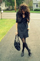 black shirt dress French Connection dress - dark brown fur Forever 21 vest - bla