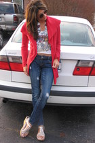 red Anthropologie sweater - white t-shirt - denim jeans - silver shoes