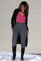 black banana republic coat - hot pink banana republic shirt - gray thrifted vint