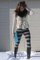 ivory Anthropologie sweater - H&M leggings