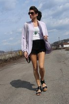 black lace Lulus shorts - periwinkle Urban Outfitters cardigan - black Nine West