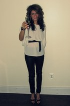 ivory MNG blouse - black H&M pants - black heels