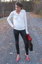 black pants - cream sweater