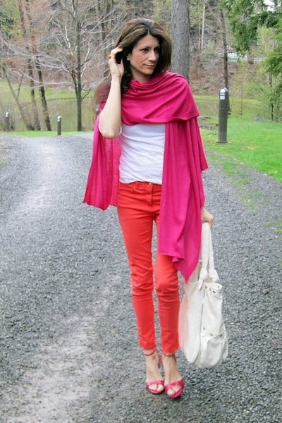 hot pink scarf - coral H&M pants - hot pink Alfani heels