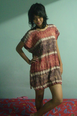 brick red mini batik dress
