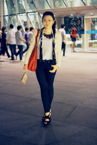 black Topshop jeans - ruby red Zara bag - black Topshop heels - black thisistran