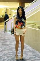 asos top - Louis Vuitton bag - Forever 21 shorts - Aldo heels