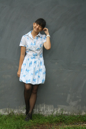 black boots - sky blue unbranded dress
