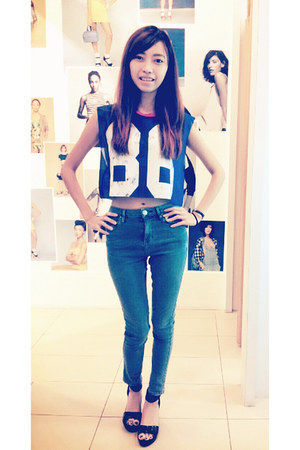 blue Topshop top - sky blue Topshop jeans - black Vincci wedges