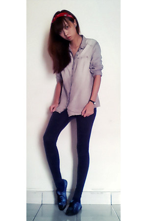 silver jeans jacket - navy Mango leggings - ruby red hair accessory