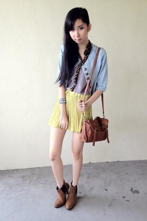 light blue jacket - bronze asos boots - tawny cotton on bag