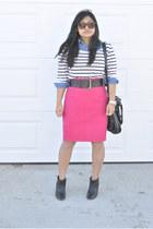 thrifted skirt - Bluenotes shirt