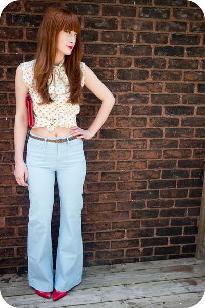 c8cbe3c98985 red thrifted purse - polka dot thrifted blouse - baby blue H M pants - H M  belt