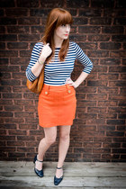 orange H&M skirt - striped Target shirt - cognac vintage purse