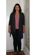 pink Loft shirt - blue Loft jeans - brown New York & Company shoes - gray New Yo