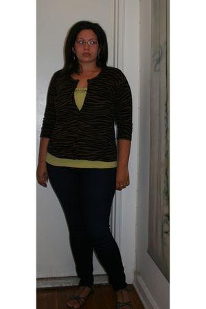 blue Loft jeans - green Loft shirt - brown New York & Company cardigan - silver