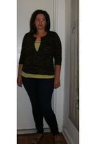 blue Loft jeans - green Loft shirt - brown New York & Company cardigan - silver