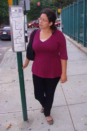 purple ABStudio sweater - black Gap pants - brown New York & Company shoes - whi