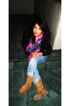 floral H&M scarf - ugg cotton on boots - boyfriend jeans H&M jeans