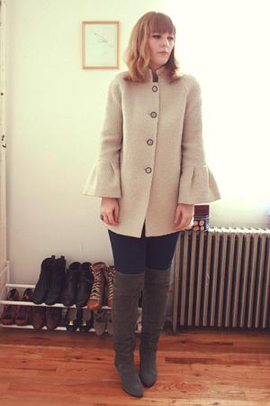 beige Zara coat - gray DV boots - blue BDG jeans
