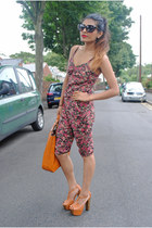 thrifted vintage romper - Zara bag - thrifted vintage sunglasses - asos heels