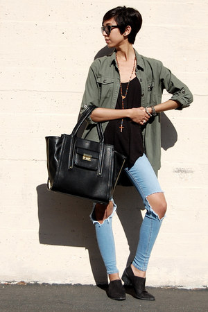 sam edelman boots - asos jeans - cotton on jacket - brandy melville vest