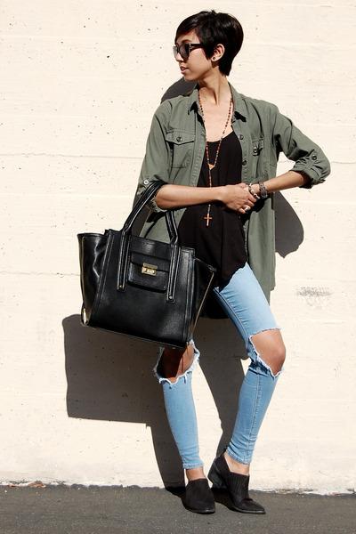 sam edelman boots - asos jeans - cotton on jacket - brandy melville vest