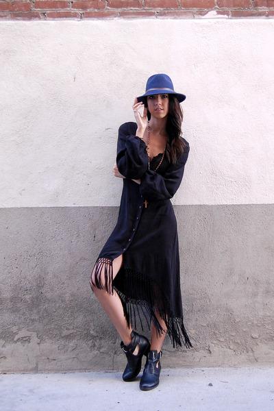 American Gold dress - asos boots - Roxy hat