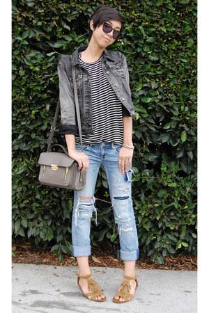 brandy melville t-shirt - American Eagle jeans - Forever 21 jacket
