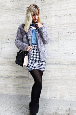 h&m divided jacket - Zara bag - New Yorker skirt