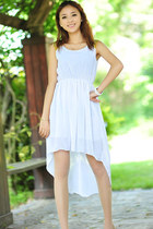 Sequin Shoulders High-Low Chiffon Dress - White