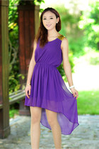 Sequin Shoulders High-Low Chiffon Dress - Purple