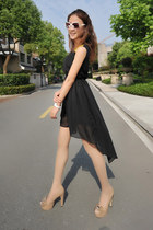 Sequin Shoulders High-Low Chiffon Dress - Black
