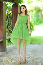Sequin Shoulders High-Low Chiffon Dress - Green