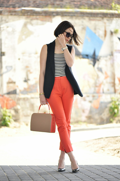 cotton Orange pants - stripes H&M blouse
