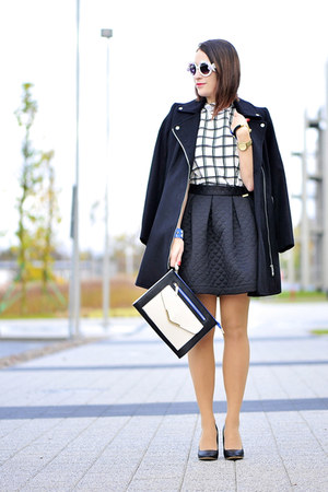 quilted PresKA skirt - checkered new look blouse