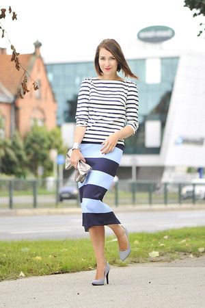 cotton skirt Zara skirt - stripes new look shoes