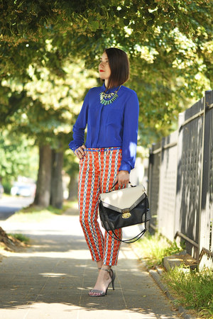 cobalt elegant new look blouse - prints cotton Zara pants