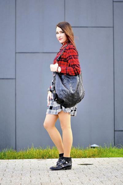 tartan new look blouse
