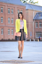 leather new look skirt - neon Zara jacket