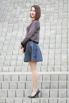 cotton new look sweater - leather new look skirt