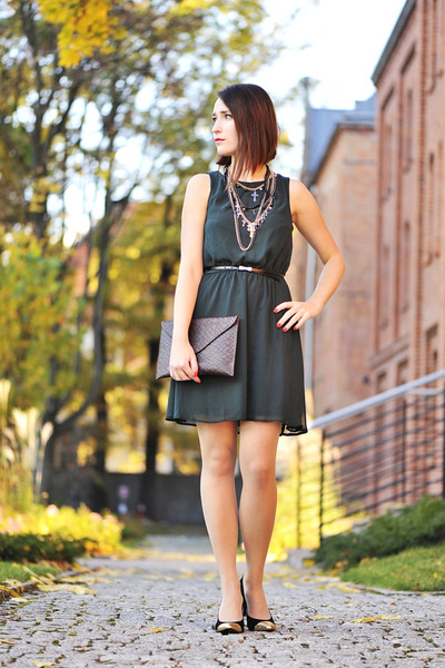 elegant new look dress - cross new look necklace