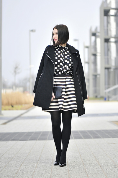 stripes H&M skirt - dots new look blouse