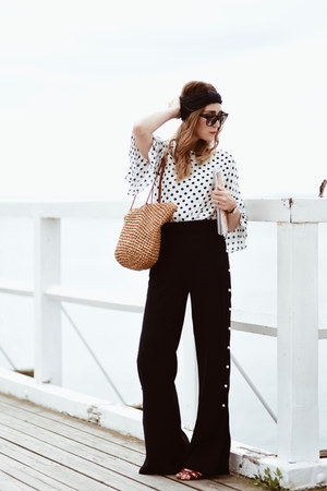 polka dot Orsay blouse - wide leg Zara pants